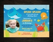 Under the Sea -  First Birthday Party Printable Photo Invitation  -- Any Color