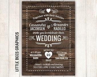 Rustic Wedding Invitation, Wood Printable Wedding Invitation, Wedding Invitation with RSVP, any color, free customizations