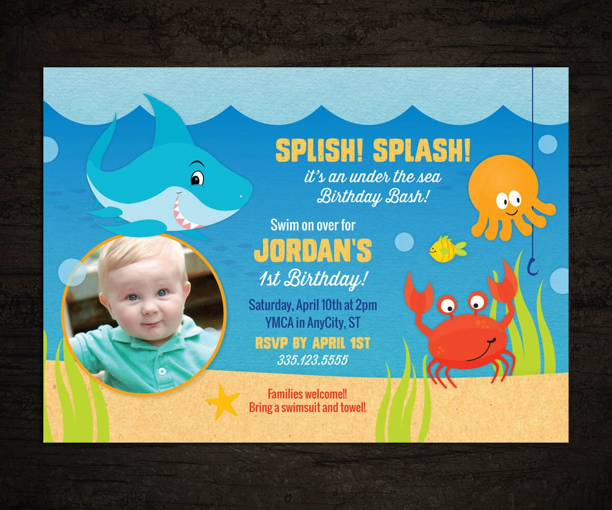 Shark Invitation Under The Sea Party Invite First Birthday