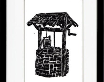 Water Wishing Well Print #37, Original Linoleum Block Print