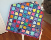 Colorful Squares and Dots Baby Quilt
