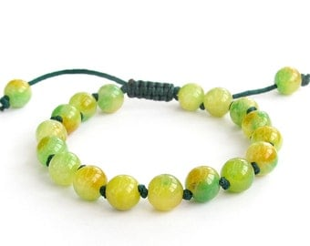 8mm Knotted Yellow Green Stone Wrist Bracelet For Meditation  T3207