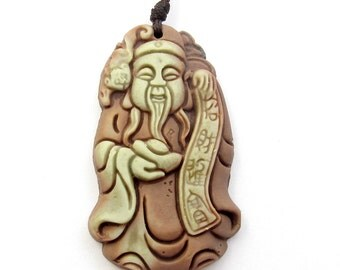 Carved Two Layer Natural Stone Caishen Zhao-Cai-Jin-Bao Yuanbao Bat Pendant Good Fortune 43mm*25mm  ZP072