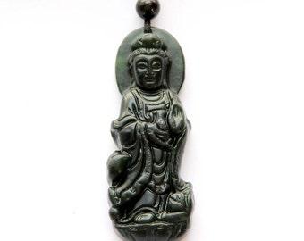 Carved Tibetan Mercy Kwan-Yin Dark Color Natural Stone Talisman Pendant Good Luck 55mm*20mm  TH031