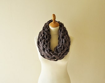 Pure Wool Cowl, Arm Knit Cowl, Taupe Cowl, Chunky Knit Cowl, Winter Knitwear Fashion -