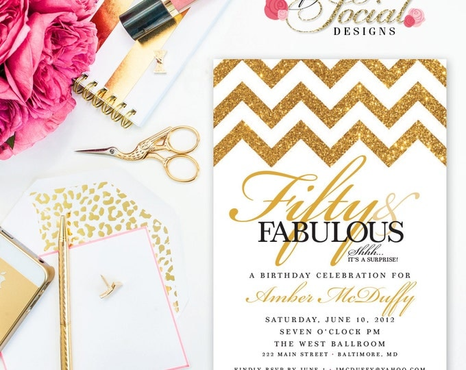Surprise 60th 50th 40th Birthday Party Invitation Gold Glitter Chevron Fifty and Fabulous Forty and Fabulous PRINTABLE