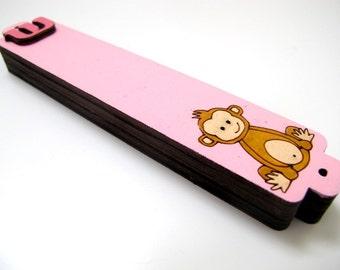 Mezuzah Case pink monkey wooden mezuzah for children babies  jewish unique gift, jewish baby gift