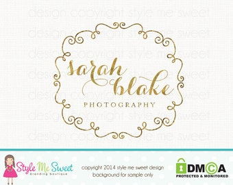 Premade Photography Logo Gold Frame Logo Gold Text Logo Photographers Logo Hand Drawn Small Business Logo Design Graphic Design