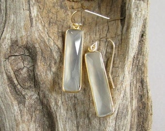 Gray Chalcedony Bar Earrings Long Gemstone Drops 14K Gold Fill