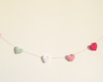 Heart Garland, Nursery Garland, Nursery Decor, Crochet Garland