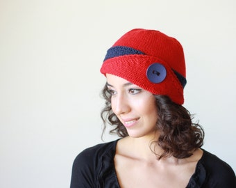 Lucy Hat, Red beanie hat, Red knit hat, Red women hat, Red women beanie, Red knit beanie, Red wool hat, Red wool beanie