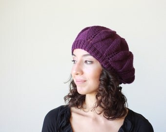 Hand Knitted Hat for Women, Purple Slouch hat beret, Winter hat for women, Fashion hat, Handmade beret, Trend knit hat