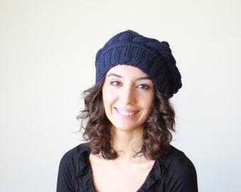 Women Knit Tam, Navy Blue hat for women, Winter knit beret, Ladies knit hat, Winter beret women, Navy knit hat, Navy handmade hat womens