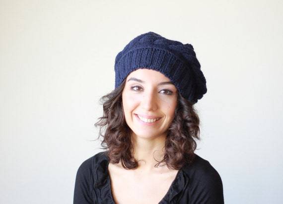 Women Knit Tam, Navy Blue hat for women, Winter knit beret, Ladies knit hat, Winter beret women, Navy knit hat, Navy handmade hat womens