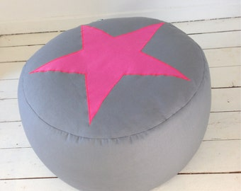 Grey Pouf Floor Cushion with Bright Pink Star