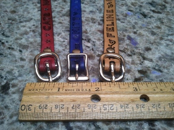 Custom leather cat collar. Name, address, phone number etc. stamped in leather
