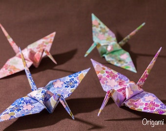 6 inches patterned cranes (32 pieces in 4 colors)