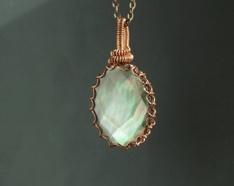 Paua shell necklace, natural copper pendant, rustic handmade jewelry