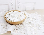 Lot of Vintage White Buttons, Sewing Craft Supplies