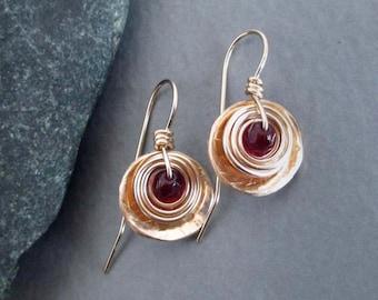 On SALE - Garnet Earrings 14k Gold Filled Earrings Handmade Jewelry January Birthstone Small Drop Earrings Modern Bohemian Jewelry Sale