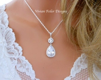 Bridal Necklace Tear Drop Glamorous Sparkly Wedding Jewelry Bling Cubic Zirconia Prom Wedding Jewellery