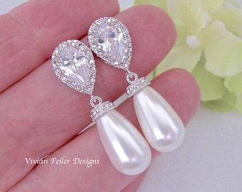 Pearl Earrings Bridal Earrings Wedding Jewelry Tear drop WHITE or IVORY PEARL Cubic Zirconia Bridesmaid Earrings Silver or Gold