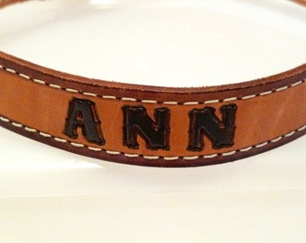 Ann Tooled Leather Belt Personalized Womens 30 C & M Leather Fort I Worth Texas Stamped Leather Vintage Rockabilly Western Belt