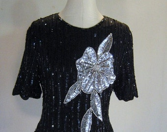 Silver Floral Beaded Sequin Shirt Top Slouchy