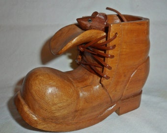 Hand Carved Butternut Wood Boot Shoe with Mouse by W.F. Grether