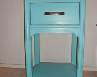 Vintage 1940's Shabby Chic'd Turquoise Aqua Blue Waterfall Style Night Stand