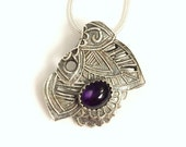 Amethyst abstract silver pendant, purple flower necklace, February birthstone pendant
