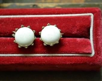 1960s White Glass Cabochon Screw Back Earrings