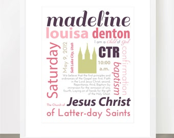 Baptism Subway Custom Art - 8x10 Print - Remember Their Special Day in a Special Way - Fully Customizable with Photo or Church/Temple Shape