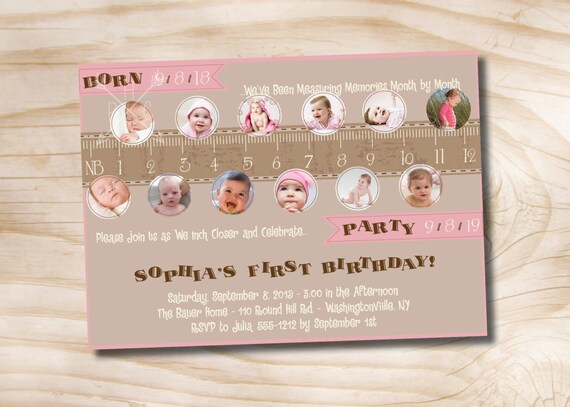 Measure a year, One Year in a Flash First Birthday Party Invitation - Printable Invitation