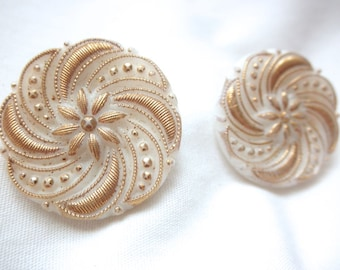 VICTORIAN Milk GLASS Gold Clip On EARRINGS Early 1900s Buttons Round Wedding Bridal Jewelry Made in 1950s Jackpot Jen on Etsy Vintage