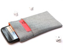 Motorola Moto G4, G4 Plus, G4 Play, Moto X, G, E  sleeve case pouch handmade light jeans and orange with pocket