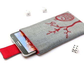 Galaxy Note 5, 4, Edge, 3 sleeve case cover pouch with magnetic closure light jeans and red with red Owl