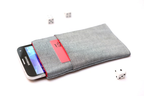 Galaxy S7 edge, S7, S6 edge+, S6 edge, S6, S5, S4, Alpha sleeve pouch case handmade light jeans and red with pocket