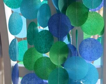 Tissue Paper Garland, Party Garland, Birthday Garland, Wedding Garland, Photo Backdrop, Photo Background -  Blue Green Mix