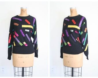 1980s sequined & beaded party sweater - jewel tone sequins / rainbow sequin sweater / vintage 1980s party sweater - dolman sleeve sweater