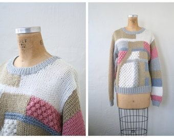 vintage 80s hand knit chunky ladies pullover sweater / Sweet Kawaii - dusty pastel / cozy - 1980s textural colorblock