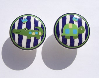 2  ALLIGATOR TURTLE Blues boys kids Dresser Drawer Knobs
