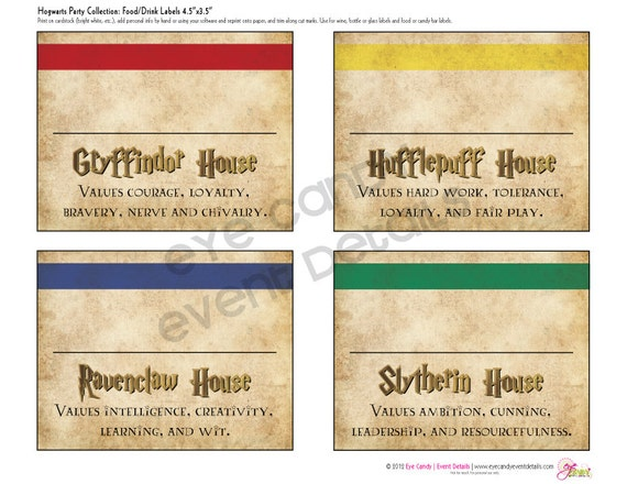 Harry Potter Inspired - Hogwarts PRINTABLE Party LABELS ...