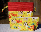 """Two Piece Matching Set  """"I HEART DOGS"""" Project Bag & Zippered Notions Wedge Bag"""