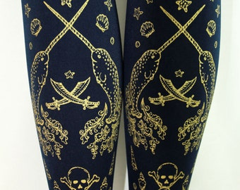 Tights L Pirate Narwhal Tights Printed Large Gold on Navy Blue Nautical Sailor Lolita Womens Winter Fashion