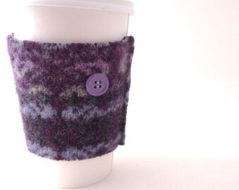 Coffee Sleeve Coffee Cozy PURPLE FAIR ISLE Felted Sweater Wool Coffee Sweater Coffee Sweater