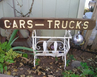 Vintage Wooden Cars and Trucks Sign from Carlas Vintage Finds