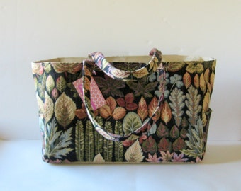 MADE TO ORDER Botanical Diaper Bag, School Bag, Work Bag, with Waterproof lining, Fall colors Lea