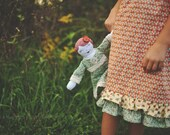 Lauren--vintage style heirloom rag cloth doll with custom lace initial