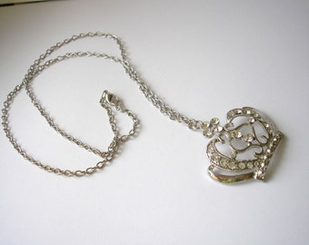 Vintage silver tone metal chain necklace with rhinestones